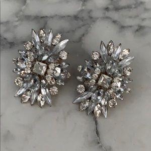 Large Rhinestone Cluster Earrings